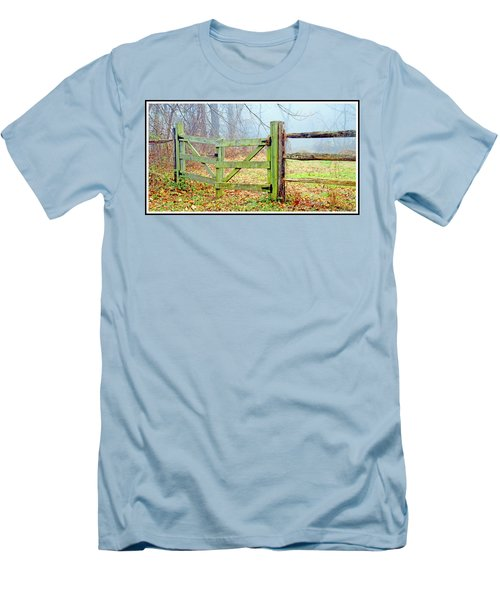 Wooden Fence On A Foggy Morning Men's T-Shirt (Slim Fit) by A Gurmankin
