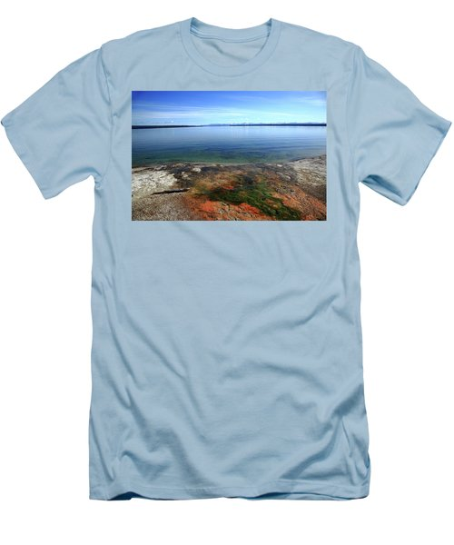 Men's T-Shirt (Slim Fit) featuring the photograph Yellowstone Lake Colors by Frank Romeo