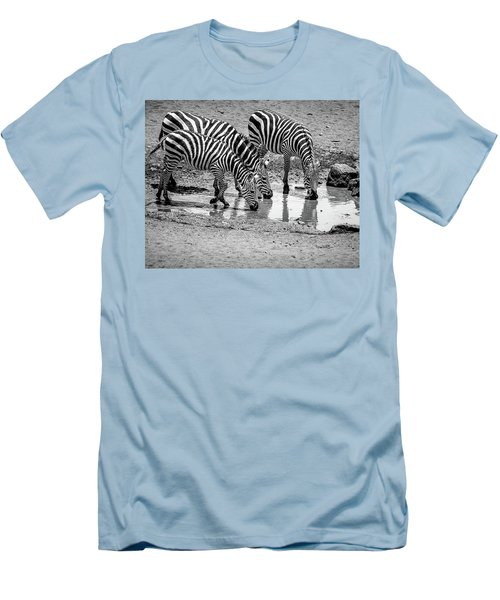 Zebras At The Watering Hole Men's T-Shirt (Slim Fit) by Marion McCristall