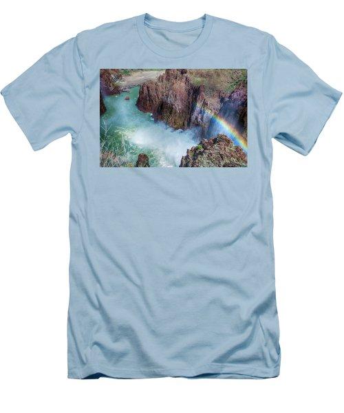 10883 Rainbow Over Owyhee Men's T-Shirt (Slim Fit) by Pamela Williams
