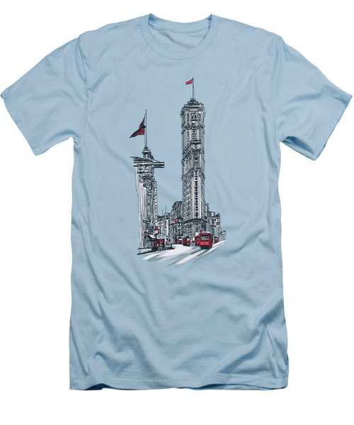 Men's T-Shirt (Slim Fit) featuring the painting 1908 Times Square,ny by Andrzej Szczerski