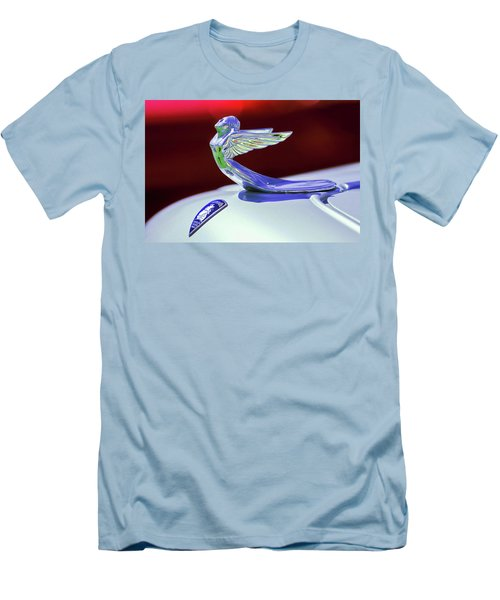 Men's T-Shirt (Slim Fit) featuring the photograph 1933 Plymouth Hood Ornament -0121rc by Jill Reger