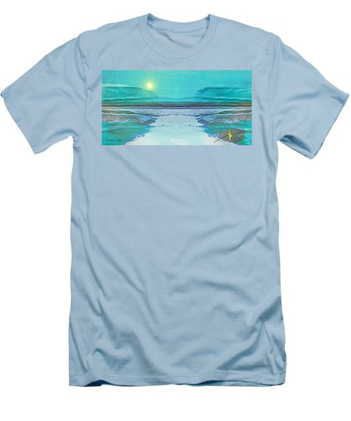Men's T-Shirt (Slim Fit) featuring the digital art 1983 - Blue Waterland -  2017 by Irmgard Schoendorf Welch
