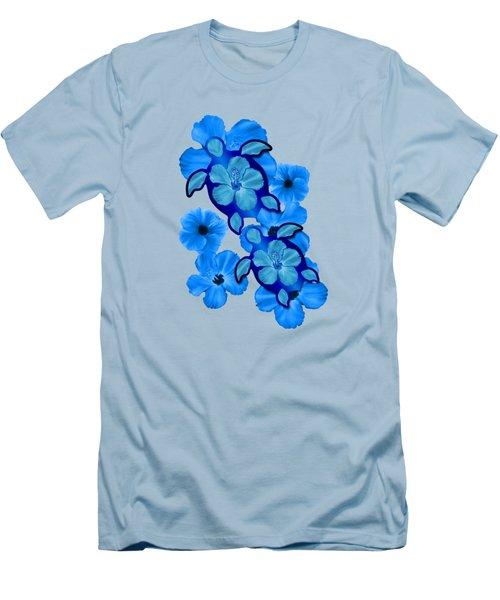 Blue Hibiscus And Honu Turtles Men's T-Shirt (Slim Fit) by Chris MacDonald