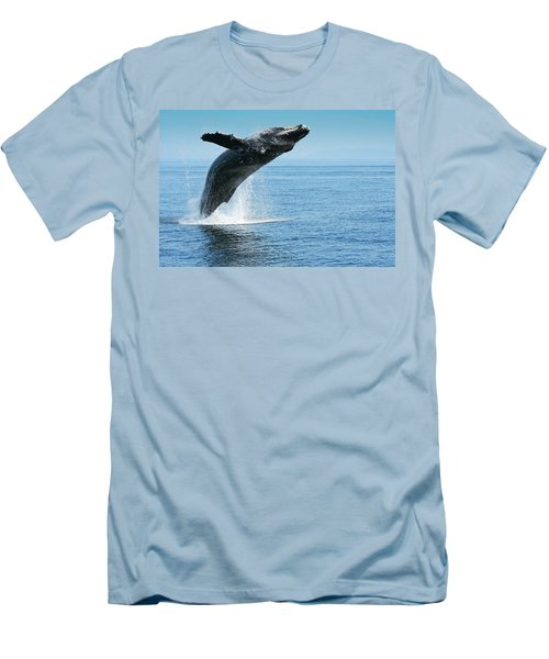 Breaching Humpback Whales Happy-1 Men's T-Shirt (Athletic Fit)