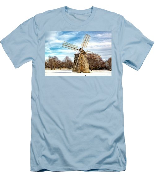 Men's T-Shirt (Slim Fit) featuring the photograph Corwith Windmill Long Island Ny Cii by Susan Candelario