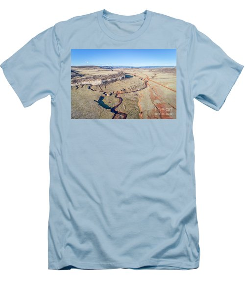 creek at  Colorado foothills - aerial view Men's T-Shirt (Athletic Fit)