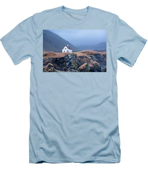 House On Ocean Cliff In Iceland Men's T-Shirt (Athletic Fit)
