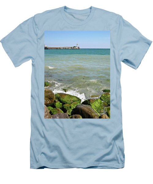 Lighthouse In Sea Men's T-Shirt (Slim Fit) by Irina Afonskaya