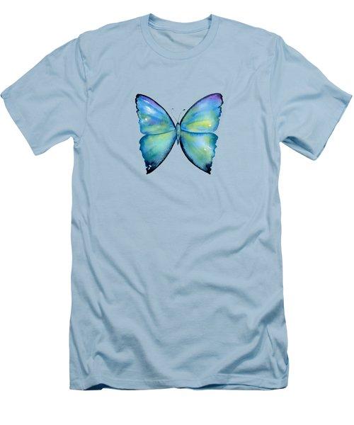 2 Morpho Aega Butterfly Men's T-Shirt (Slim Fit) by Amy Kirkpatrick