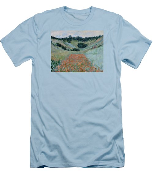 Poppy Field In A Hollow Near Giverny Men's T-Shirt (Slim Fit) by Claude Monet