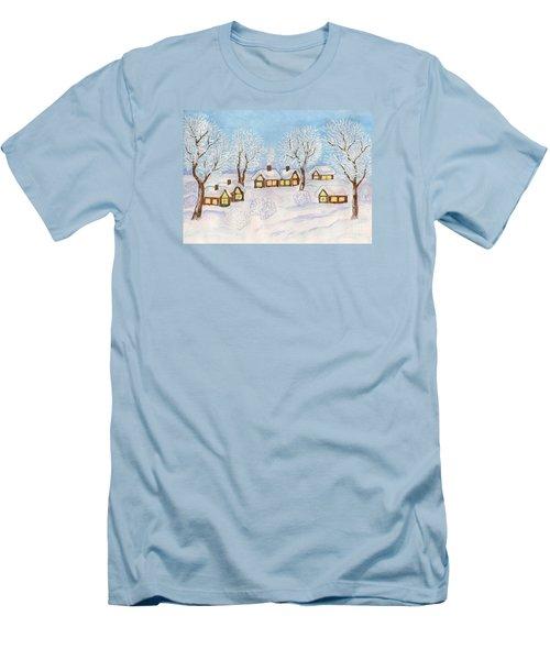 Winter Landscape, Painting Men's T-Shirt (Slim Fit) by Irina Afonskaya