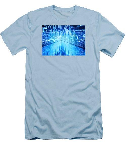 Men's T-Shirt (Slim Fit) featuring the photograph Stock Market Concept by Setsiri Silapasuwanchai