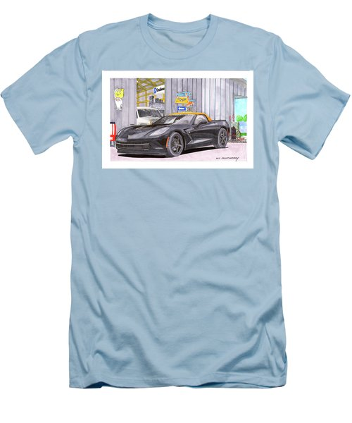 Men's T-Shirt (Slim Fit) featuring the painting 2014 Corvette And Man Cave Garage by Jack Pumphrey