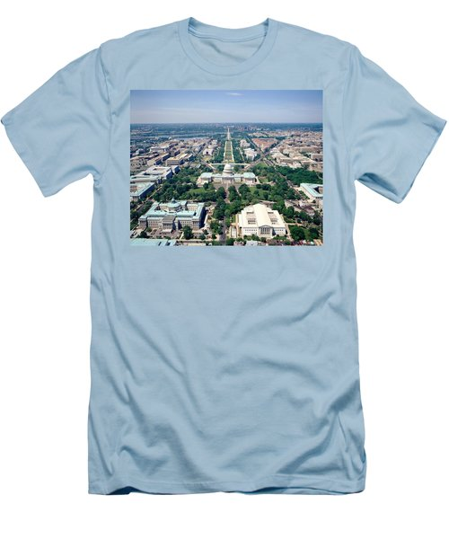 Aerial View Of Buildings In A City Men's T-Shirt (Slim Fit) by Panoramic Images