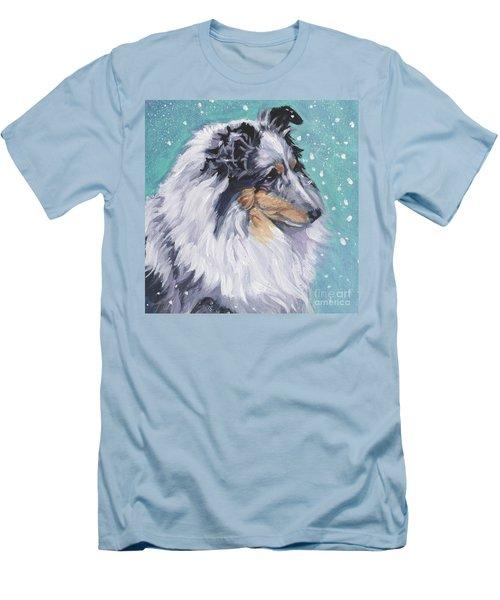 Men's T-Shirt (Slim Fit) featuring the painting Shetland Sheepdog by Lee Ann Shepard