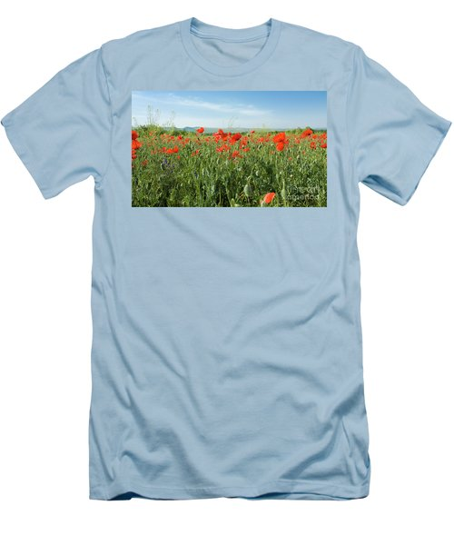 Meadow With Red Poppies Men's T-Shirt (Slim Fit) by Irina Afonskaya