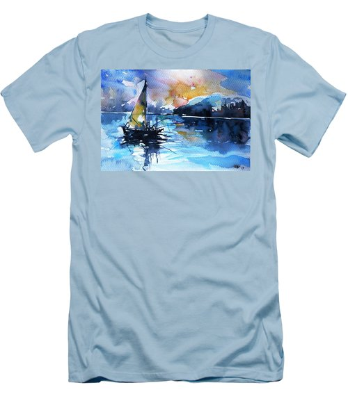 Men's T-Shirt (Slim Fit) featuring the painting Sailboat by Kovacs Anna Brigitta
