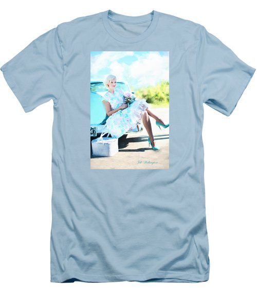 Vintage Val In The Turquoise Vintage Car Men's T-Shirt (Slim Fit) by Jill Wellington