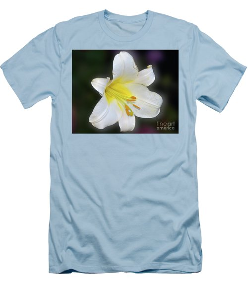 Men's T-Shirt (Slim Fit) featuring the photograph White Lily by Elvira Ladocki