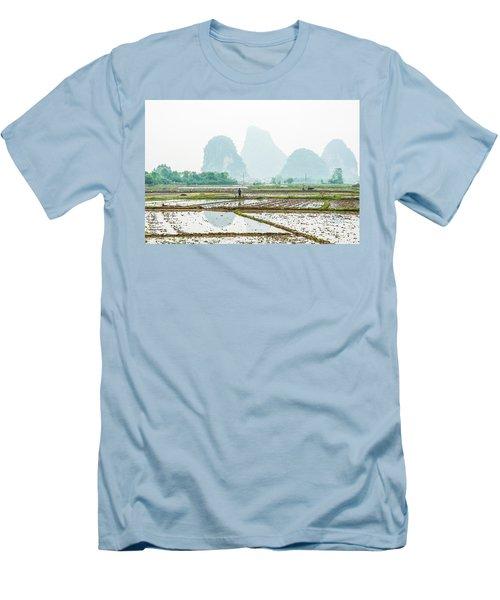 Karst Rural Scenery In Spring Men's T-Shirt (Athletic Fit)