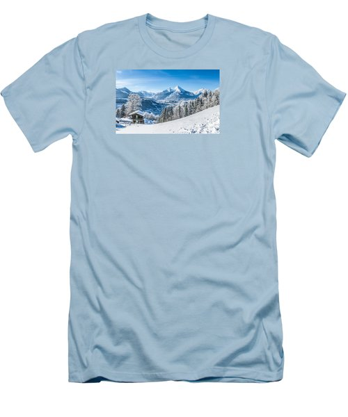 Snowy Landscape In The Alps Men's T-Shirt (Athletic Fit)