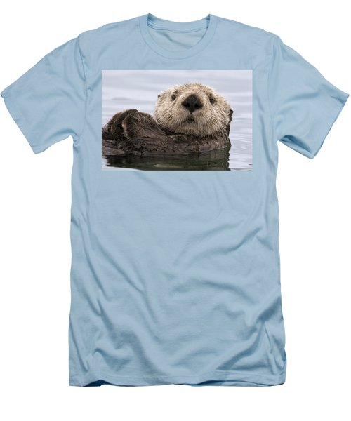 Sea Otter Elkhorn Slough Monterey Bay Men's T-Shirt (Slim Fit) by Sebastian Kennerknecht