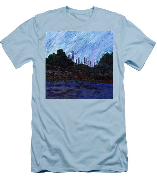 Men's T-Shirt (Athletic Fit) featuring the painting A City That Never Sleeps by Vadim Levin