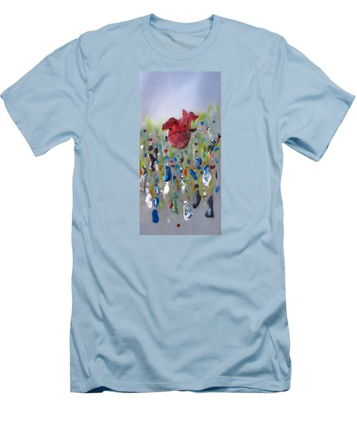 Men's T-Shirt (Slim Fit) featuring the painting A Face In The Crowd by Mary Kay Holladay