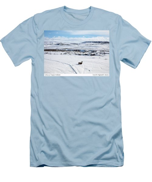 Men's T-Shirt (Slim Fit) featuring the photograph A Lone Buck Deer In Carbon County, Wyoming by Carol M Highsmith