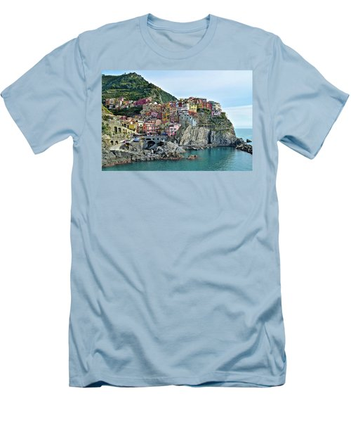 Men's T-Shirt (Slim Fit) featuring the photograph A Manarola Morning by Frozen in Time Fine Art Photography