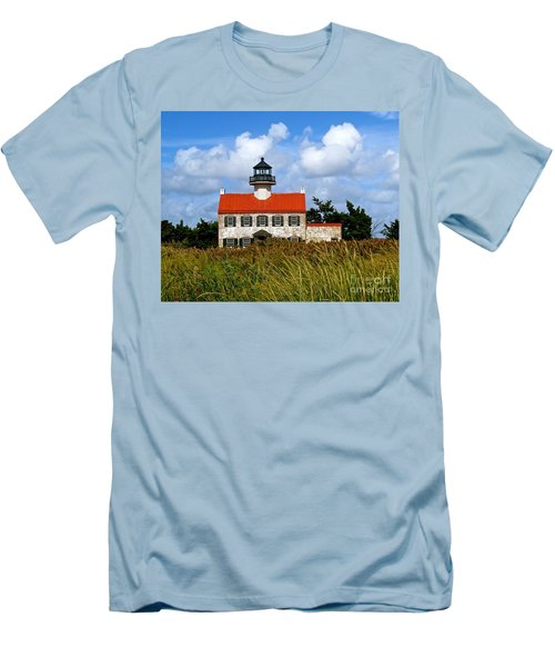 A New Day At East Point Light Men's T-Shirt (Slim Fit) by Nancy Patterson