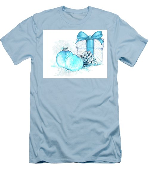 Men's T-Shirt (Slim Fit) featuring the painting A Sparkly Blue Christmas by Heidi Kriel