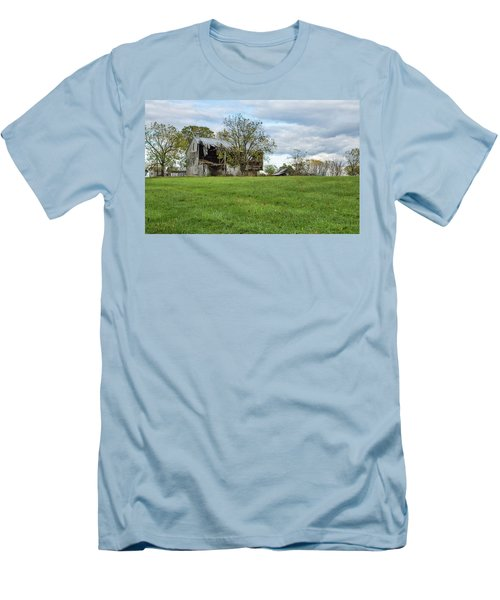 Men's T-Shirt (Athletic Fit) featuring the photograph A Tired Old Barn by John M Bailey