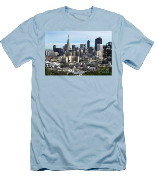 A View Of Downtown From Nob Hill Men's T-Shirt (Slim Fit) by Steven Spak