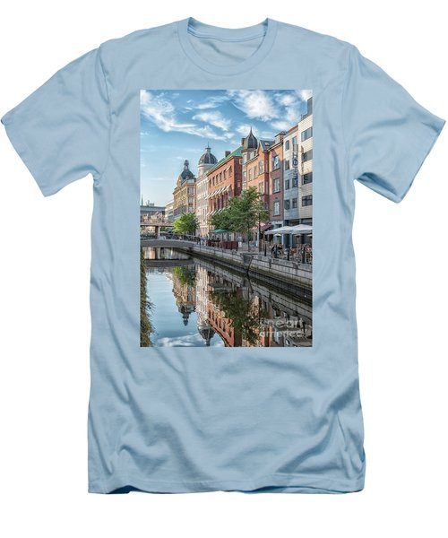 Men's T-Shirt (Slim Fit) featuring the photograph Aarhus Afternoon Canal Scene by Antony McAulay