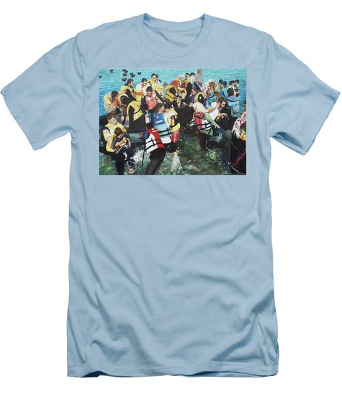 Men's T-Shirt (Slim Fit) featuring the painting Abandoned Souls by Eric Kempson