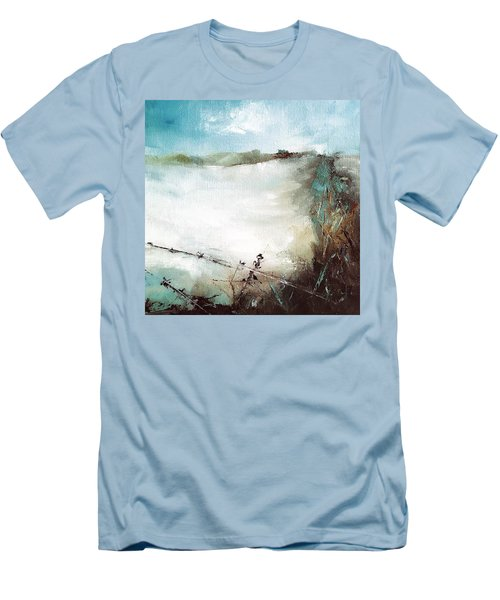Abstract Barbwire Pasture Landscape Men's T-Shirt (Slim Fit) by Michele Carter