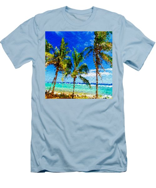Abstract Beach Palmettos Men's T-Shirt (Slim Fit) by Anthony Fishburne