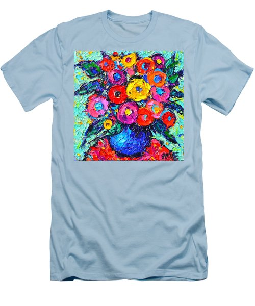 Abstract Colorful Wild Roses Modern Impressionist Palette Knife Oil Painting By Ana Maria Edulescu  Men's T-Shirt (Athletic Fit)