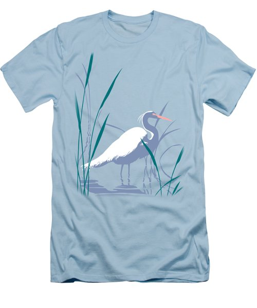 abstract Egret graphic pop art nouveau 1980s stylized retro tropical florida bird print blue gray  Men's T-Shirt (Slim Fit) by Walt Curlee