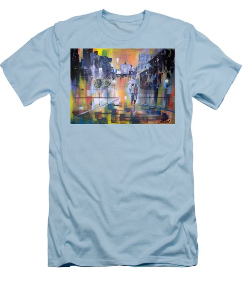 Men's T-Shirt (Slim Fit) featuring the painting Abstract Of Motion by Raymond Doward