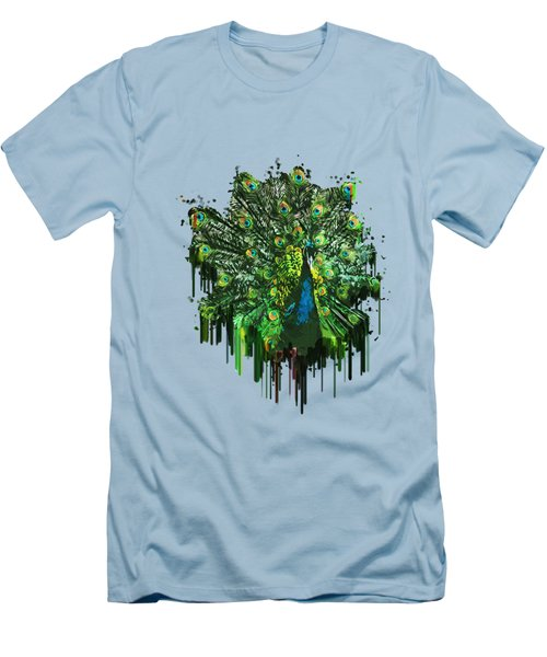 Abstract Peacock Acrylic Digital Painting Men's T-Shirt (Slim Fit) by Georgeta Blanaru