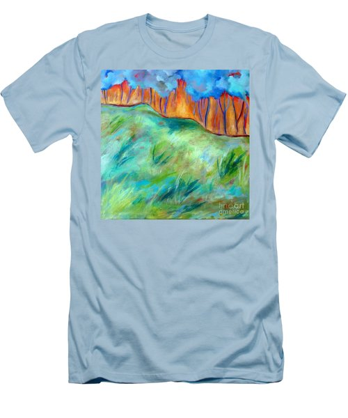 Across The Meadow Men's T-Shirt (Slim Fit) by Elizabeth Fontaine-Barr