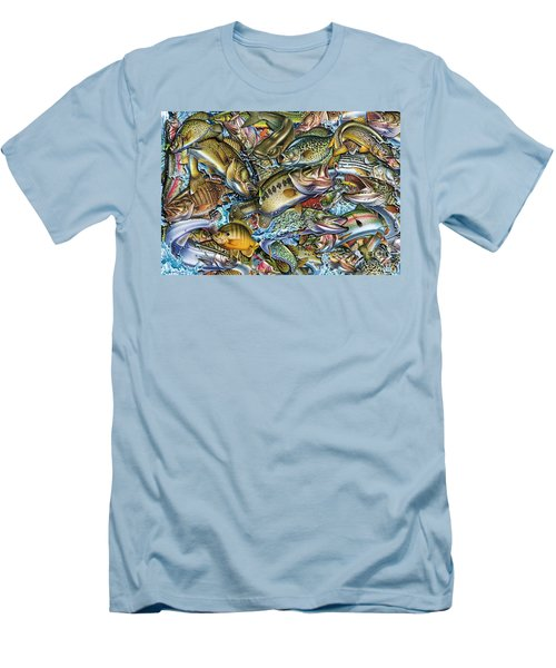 Action Fish Collage Men's T-Shirt (Slim Fit) by Jon Q Wright JQ Licensing