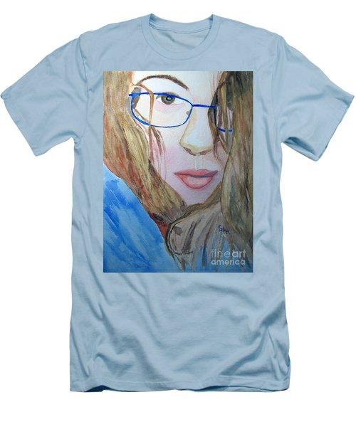 Addie In Blue Men's T-Shirt (Slim Fit) by Sandy McIntire