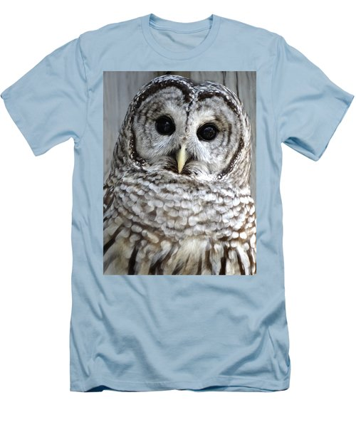 Adorable Barred Owl  Men's T-Shirt (Slim Fit) by Rebecca Overton