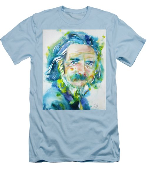 Men's T-Shirt (Slim Fit) featuring the painting Alan Watts - Watercolor Portrait.4 by Fabrizio Cassetta