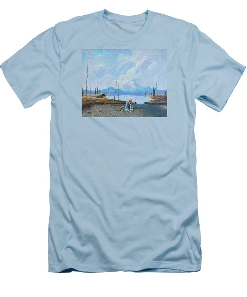 Men's T-Shirt (Slim Fit) featuring the painting Alaskan Atm by Richard Faulkner