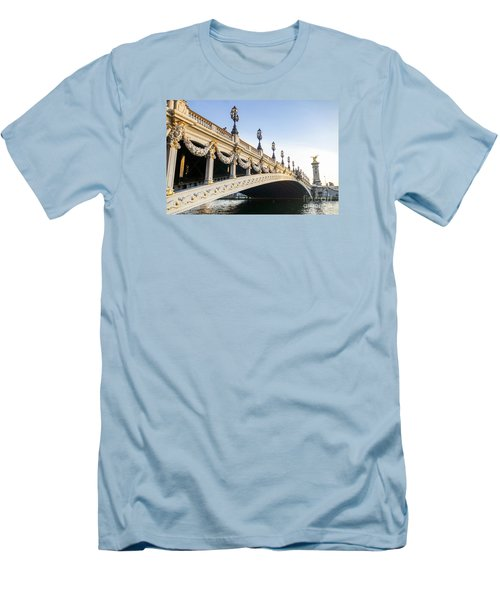 Alexandre IIi Bridge In Paris France Early Morning Men's T-Shirt (Slim Fit) by Perry Van Munster